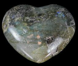 Small Polished Labradorite Hearts - 5 Pack