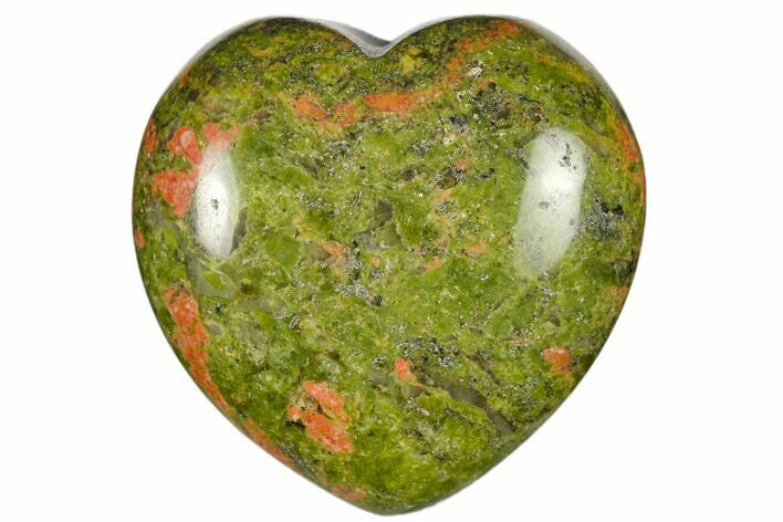 "1.6"" Polished Unakite Heart - Photo 1"