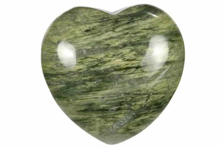 "1.6"" Polished Green Hair Jasper Heart - Photo 1"