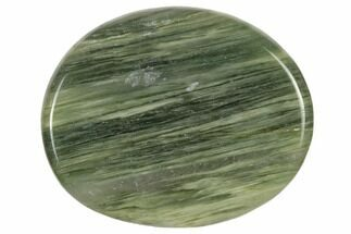 "1.5"" Polished Green Hair Jasper Flat Pocket Stone"