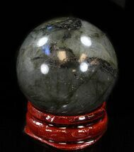 "1.4"" Flashy Labradorite Sphere - Great Color Play For Sale, #37667"