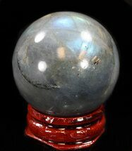 "1.5"" Flashy Labradorite Sphere - Great Color Play For Sale, #37670"