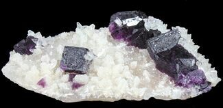 "Buy 3.75"" Very Clean Purple Cubic Fluorite on Quartz - China - #39001"