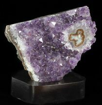 "4.6"" Unique Amethyst Cluster On Wood Base For Sale, #50708"