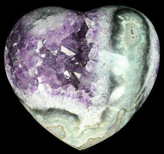 "3.4"" Purple Amethyst Crystal Heart - Uruguay"