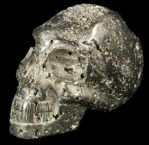 "4.2"" Polished Pyrite Skull With Pyritohedral Crystals - Peru"