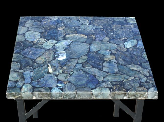 "20 x 20"" Labradorite End Table With Powder Coated Base"