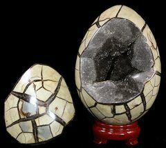 "7.4"" Septarian ""Dragon Egg"" Geode With Removable Section For Sale, #51314"