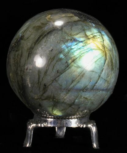 "2.45"" Flashy Labradorite Sphere - With Nickel Plated Stand"