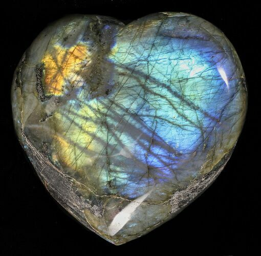 "3.7"" Flashy Polished Labradorite Heart"