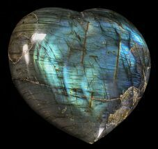 "3.3"" Flashy Polished Labradorite Heart For Sale, #58898"