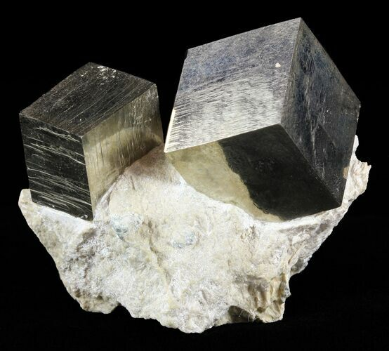 Two Pyrite Cubes In Matrix - Navajun, Spain