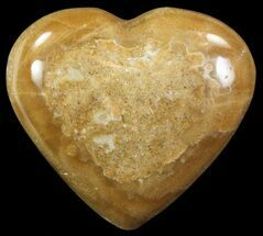 "3.3"" Polished, Brown Calcite Heart - Madagascar For Sale, #62540"