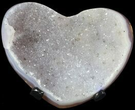 "3.9"" Polished, Agate Heart with Druzy Quartz - Metal Stand For Sale, #62822"