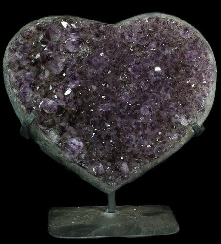 "9.3"" Amethyst Crystal Heart On Metal Stand - Uruguay"