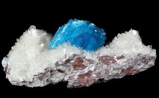 Buy Vibrant Blue Cavansite Cluster on Stilbite - India - #62866
