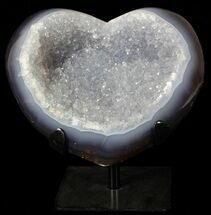 "Buy 6.7"" Polished, Agate Heart Filled with Druzy Quartz - Uruguay - #62836"