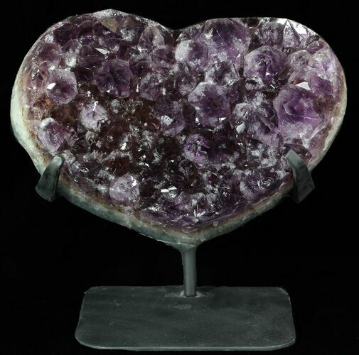 "8.6"" Amethyst Crystal Heart On Metal Stand - Uruguay"