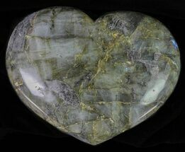 "Buy 5"" Flashy Polished Labradorite Heart - Madagascar - #62950"