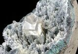Natural Calcite Cube Perched On Micro Quartz Stalactites - #62996-2