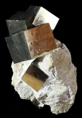 "4.2"" Tall, Natural Pyrite Cube In Rock - Navajun, Spain"