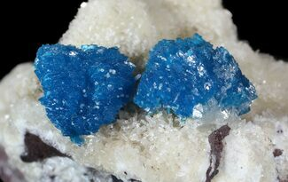 Buy Vibrant Blue Cavansite Clusters on Stilbite - India - #62878