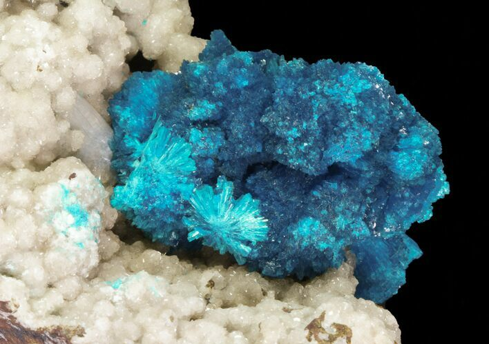 "Huge, 1.5"" Wide Cavansite Cluster on Stilbite - India"