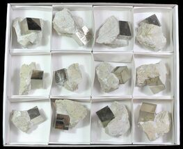 Buy Large, Pyrite Cubes In Rock From Spain (Wholesale Flat)  - 12 Pieces - #65668