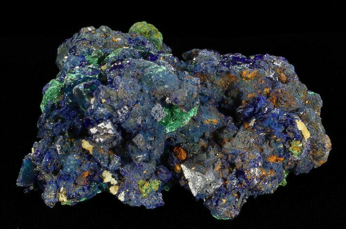 "1.7"" Sparkling Azurite Crystal Cluster with Malachite - Laos"