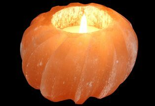 "Buy 3 1/2"" Orange Selenite ""Lotus"" Style Candle Holder - #77326"