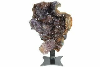 "Unique, 6.6"" Amethyst Geode From Uruguay - Custom Metal Stand For Sale, #77975"