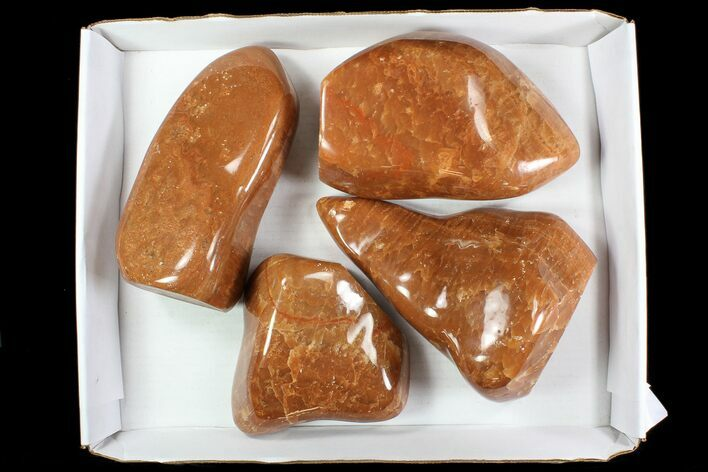 Wholesale Lot: 22 Lbs Free-Standing Polished Orange Calcite - 4 Pieces