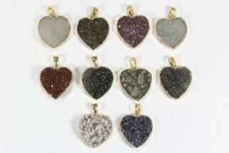 Wholesale Lot: Druzy Amethyst Heart Pendants - 10 Pieces For Sale, #78434