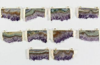 Wholesale Lot: Amethyst Slice Pendants - 10 Pieces For Sale, #78461
