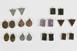 Wholesale Lot: Amethyst Slice Pendants/Earrings - 10 Pairs For Sale, #78473
