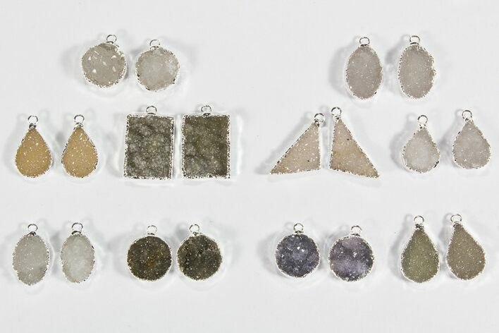Wholesale Lot: Amethyst Slice Pendants/Earrings - 10 Pairs