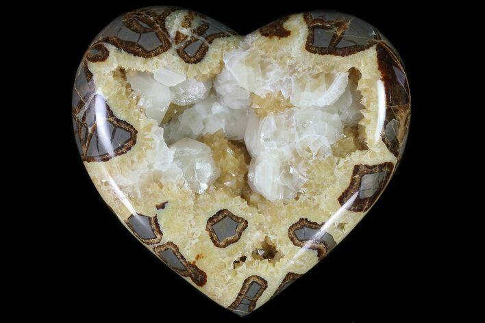 "7.6"" Wide Polished Utah Septarian Heart - Beautiful Crystals"
