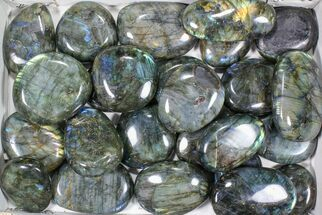 "Wholesale Box: 2-4"" Polished Labradorite Gallets - 12 lbs For Sale, #81299"