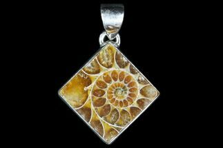 Ammonite Fossil Pendant - Sterling Silver For Sale, #82232