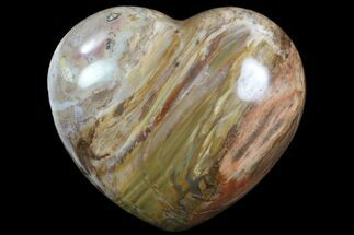 "4.1"" Colorful, Polished Petrified Wood ""Heart"" - Triassic For Sale, #82745"