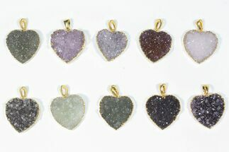 Wholesale Lot: Druzy Amethyst Heart Pendants - 10 Pieces For Sale, #84074