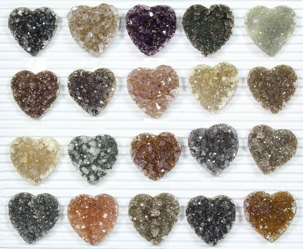 Wholesale: Druzy Amethyst/Quartz Heart Clusters (20 Pieces)