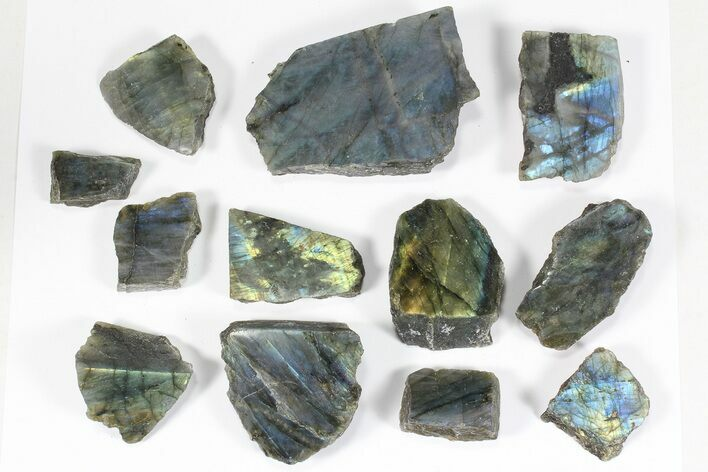 Wholesale: 1kg One Side Polished Labradorite - 12 Pieces