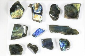 Buy Wholesale: 1kg One Side Polished Labradorite - 11 Pieces - #84484