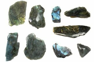 Wholesale: 1kg One Side Polished Labradorite - 9 Pieces For Sale, #84545
