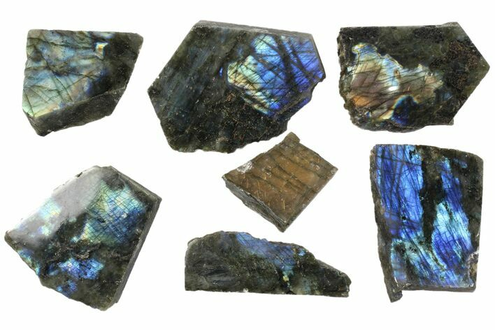 Wholesale: 1kg One Side Polished Labradorite - 7 Pieces