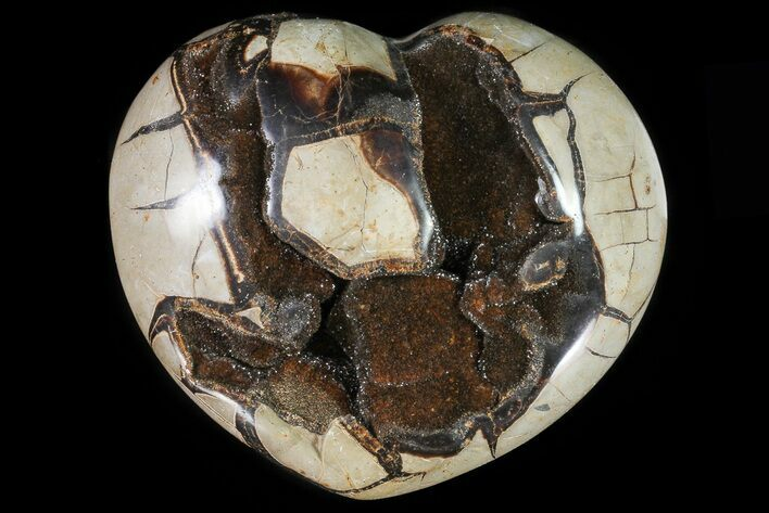 "8.7"" Polished Septarian Heart With Crystal Pockets"