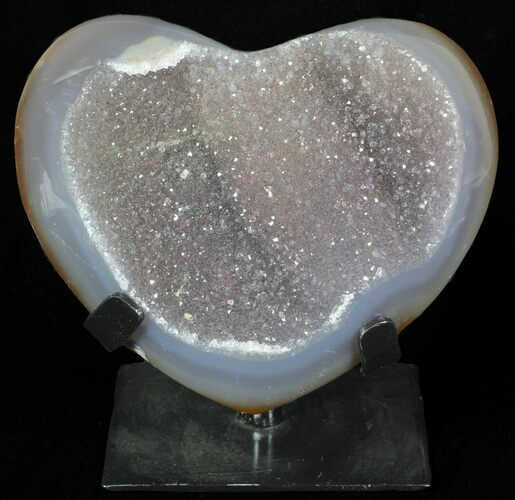 "5.5"" Polished, Agate Heart Filled with Druzy Quartz - Uruguay"