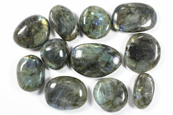 Wholesale Box: Polished Labradorite Pebbles - 1 kg (2.2 lbs)