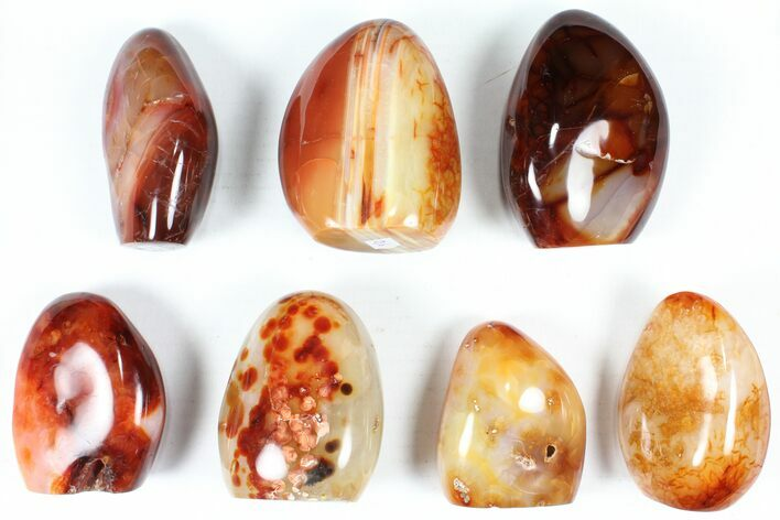 "Wholesale Lot: 3-4"" Cut Base Polished Carnelian - 7 pieces"